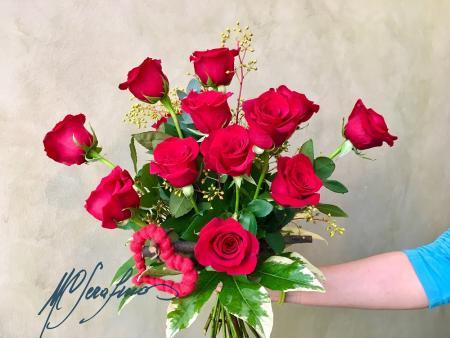 bouquet rose rosse grande--sculturafiori